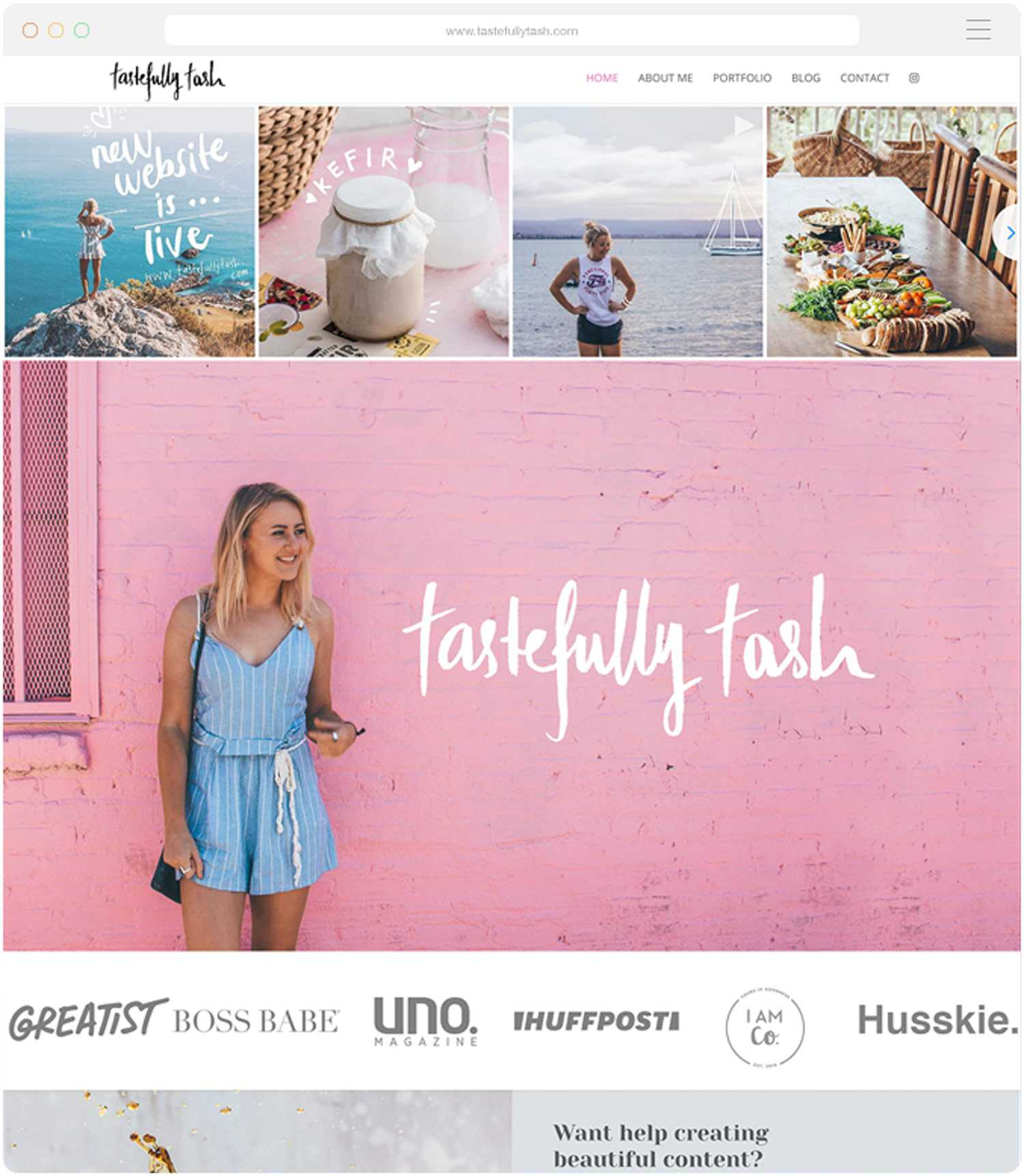 Website design for Tastefully Tash