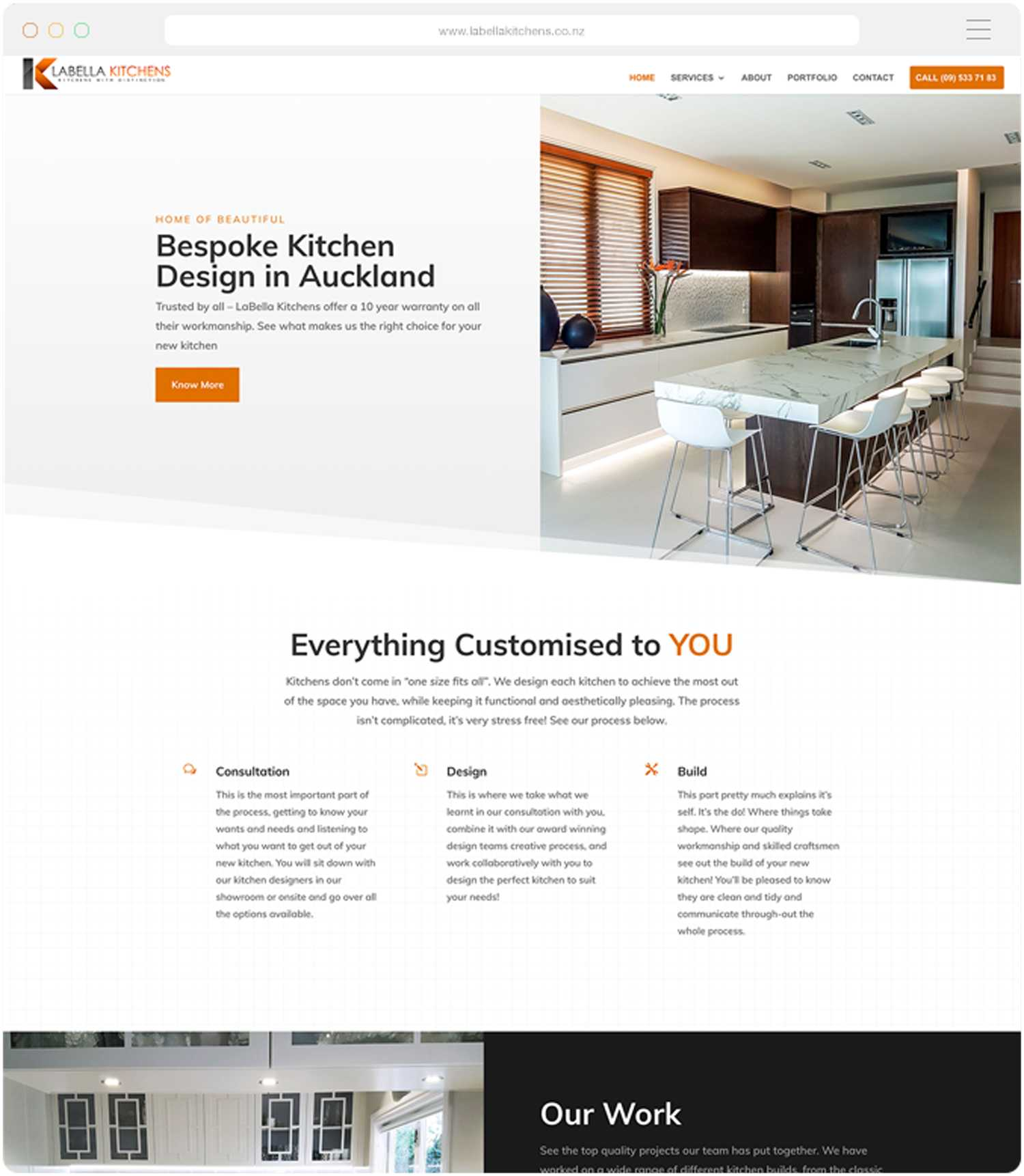 Website design and build for Labella Kitchens